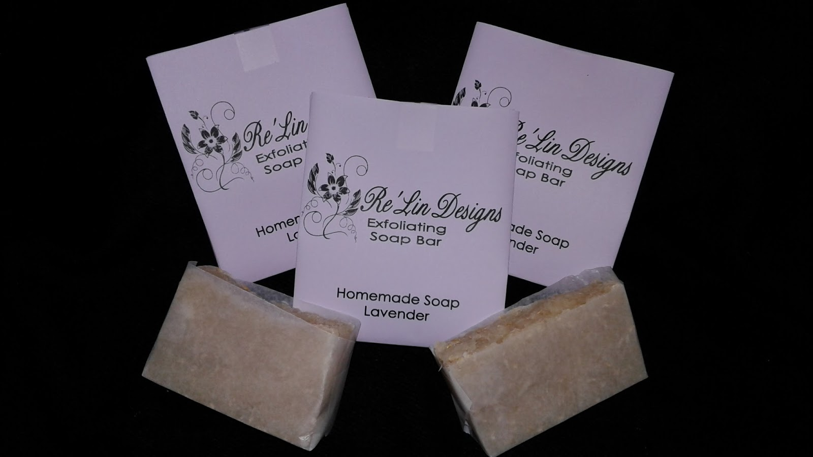 Homemade moisturizing lavender soap with oatmeal flakes embedded in the soap to give you an exfoliating shower experience while moisturizing your skin.