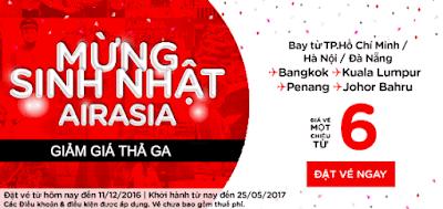 khuyến mãi 6 USD mừng sinh nhật Air Asia lần thứ 23