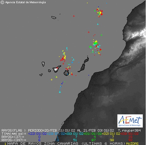 rayos fuertes lluvias domingo 21 febrero canarias