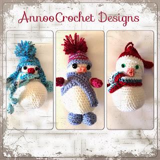Trio of Snow Men Ornaments Free Pattern