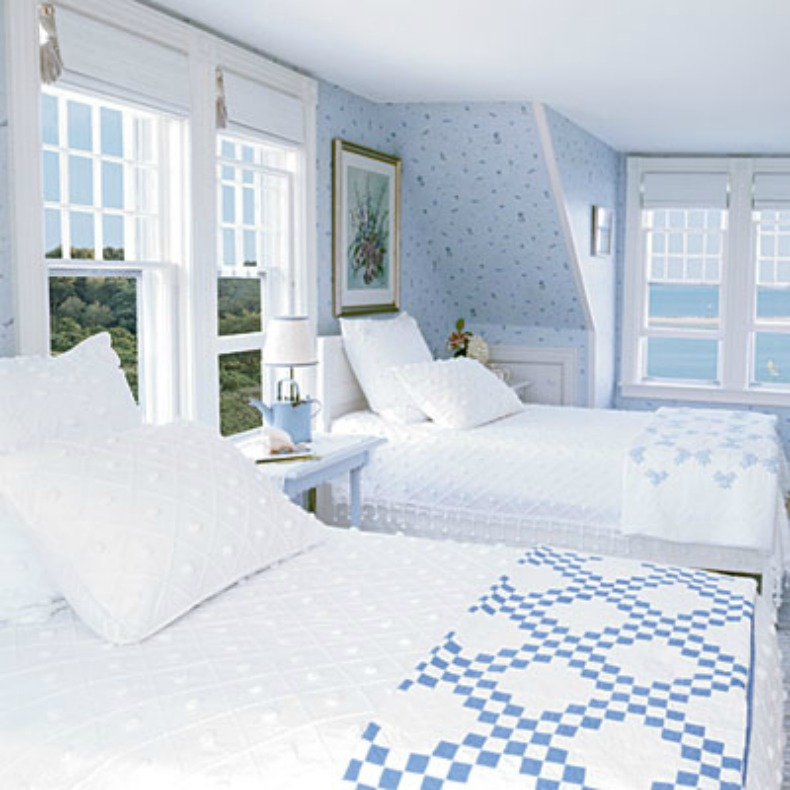 coastal, light blue bedroom