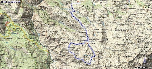 Mapa de la ruta al Requexón y Cotalba desde Pan de Carmen