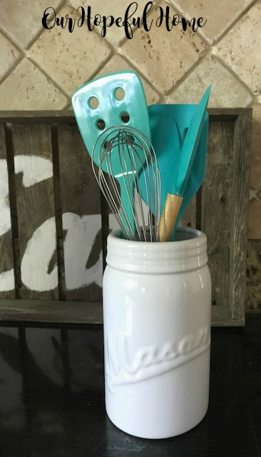white porcelain mason jar vase kitchen utensils