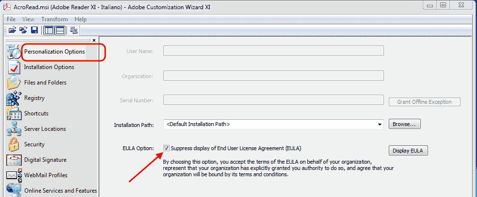 Adobe Customization Wizard XI - Personalization Options