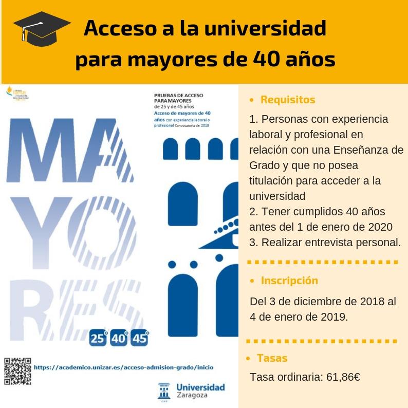 Acceso universidad mayores de 40 años