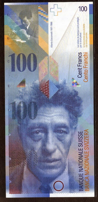 Switzerland currency banknotes 100 Swiss Francs