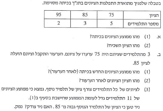 פתרון שאלה 6 - בגרות מתמטיקה 3 יח' - חורף 2013 אקסטרני - ממוצע והתפלגות