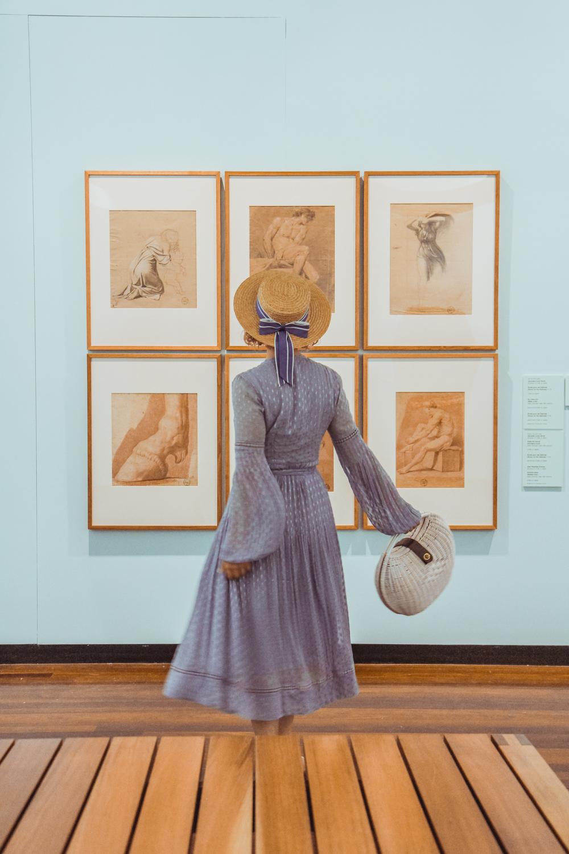 Liana of @findingfemme wears Steele Luella Wrap Dress at Ballarat Fine Art Gallery