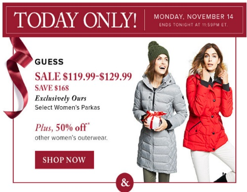 Hudson's Bay Guess Women's Parkas $168 Off + 50% Off Outerwear
