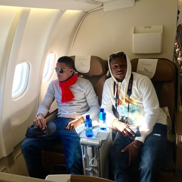 Alikiba and Abdul kiba on a plane
