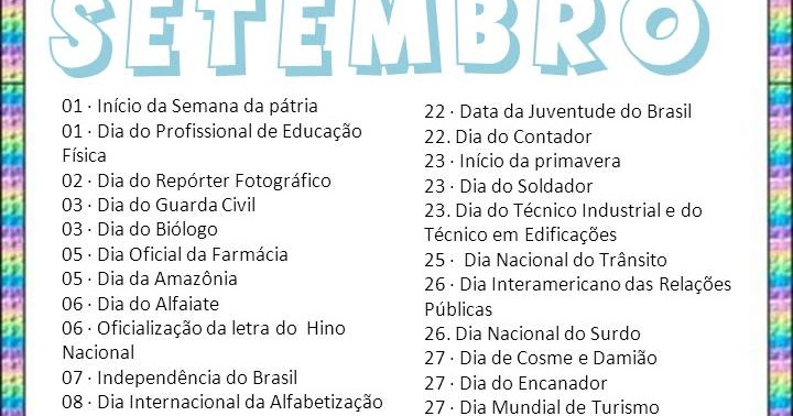 Calendario Das Datas Comemorativas Do Mes De