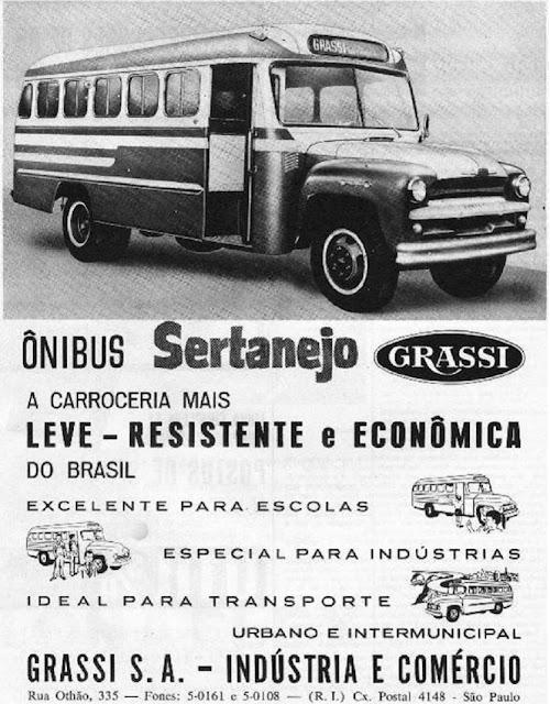 Propaganda do ônibus da Grassi, modelo Sertanejo veiculado na metade dos anos 50.