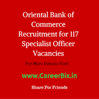 Oriental Bank of Commerce Recruitment for 117 Specialist Officer Vacancies