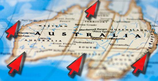 A Austrália está andando - posição deve ser corrigida nos mapas