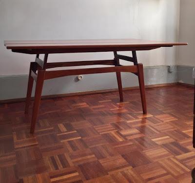 mesa metamórfica, teca, nórdica, estilo Trioh, desenho dinamarquês
