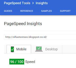screen shot kecepatan di test PageSpeed Google baik Mobile