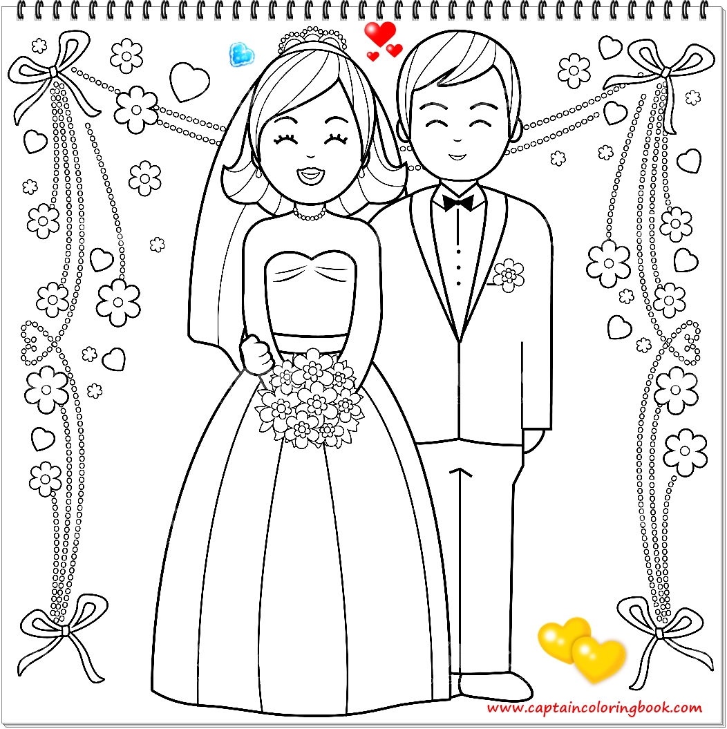 bride and groom coloring pages # 76