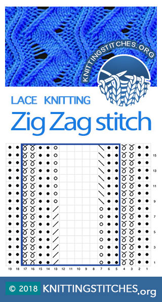 Zig Zag Knitting Stitch Pattern. Knitting Chart. Lace Chart.