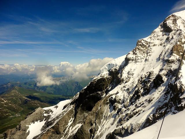 Snowy Alpine mountain view at Jungfrau, Switzerland