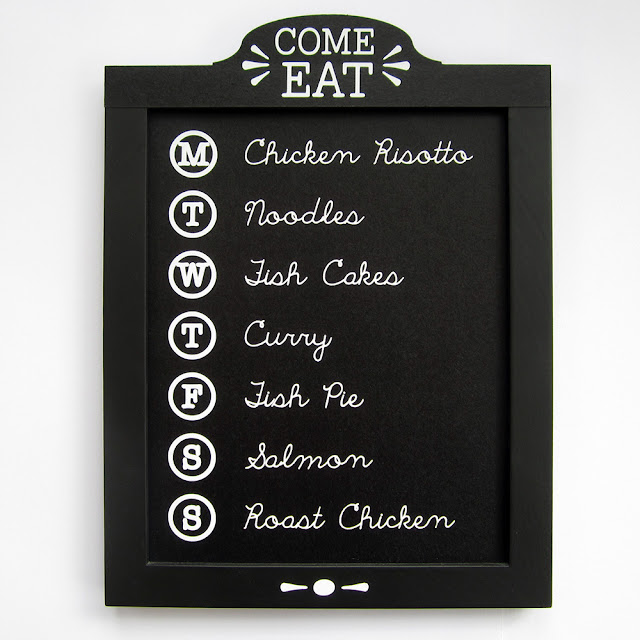 Family Menu Chalkboard by Janet Packer for Silhouette UK.  Make a custom menu board using chalkboard cardstock. with a FREE header shape cutting file.