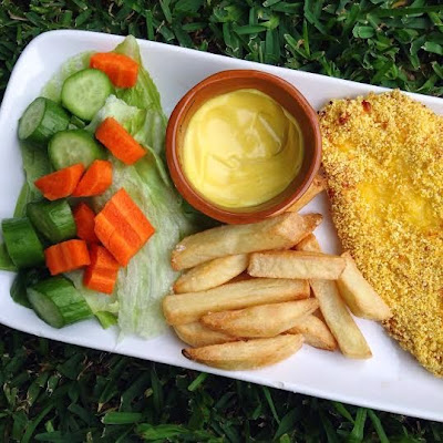 Homemade Baked Chicken Schnitzel and Chips
