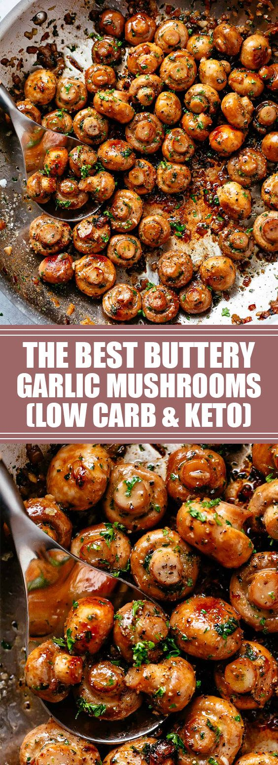 Buttery Garlic Mushrooms with a mouth watering herb garlic butter sauce! You will love this 10-minute side dish that goes with anything!