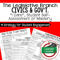 Legislative Branch, Civics and Government I Cans, Self-Assessment of Mastery, Student Ownership of Learning