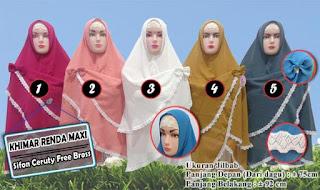 Khimar renda putih murah model syria atau non pet