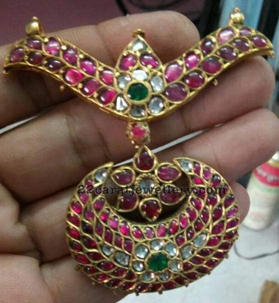 Unique Ruby Pendant in Kundan Work