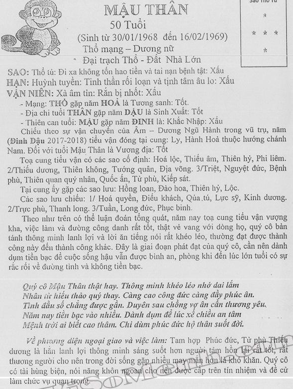 TỬ VI TUỔI MẬU THÂN 1968 NĂM 2017