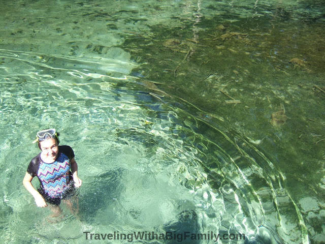 Swimming in cold water at Ponce de Leon Springs State Park, Florida