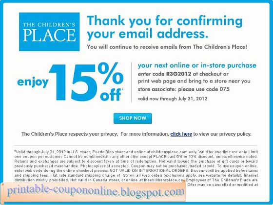 Children's place in store coupons printable 2018