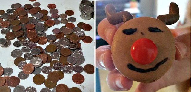 coins on a table and a reindeer macaron