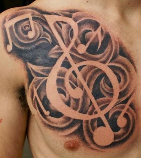 Música desenhos de tatuagem no peito para homens