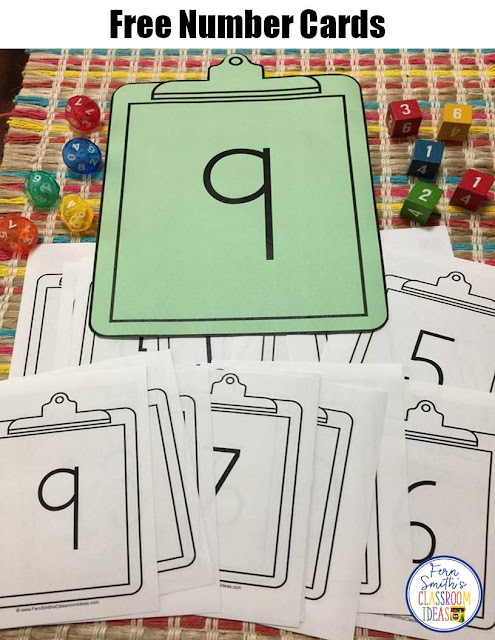 Free, printable number cards from 1 -20 #FernSmithsClassroomIdeas