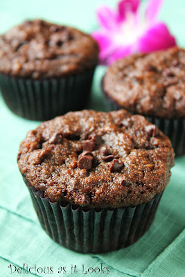Double Chocolate Almond Banana Muffins (Gluten-Fee)
