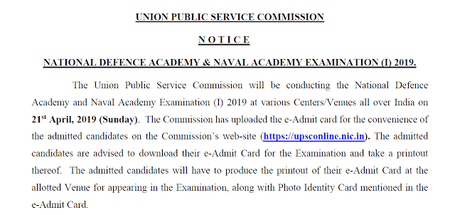 UPSC NDA NA Exam 2019 Important Notice