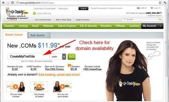 Search domain on goddady