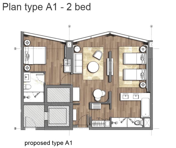 Căn hộ Plan type A1-2 Bed