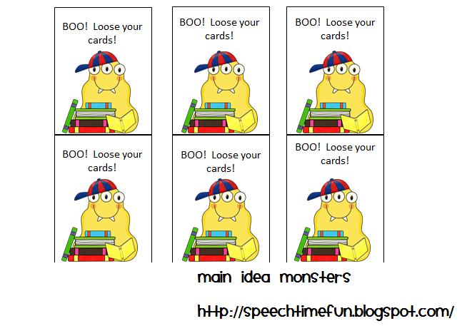 Main Idea Monsters  Speech Time Fun: Speech and Language Activities