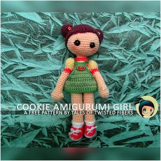 patron amigurumi Cookie, amigurumi girl tales of wisted fibers