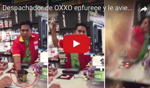 Cajero de un Oxxo discute y avienta café caliente a un cliente. (VIDEO)
