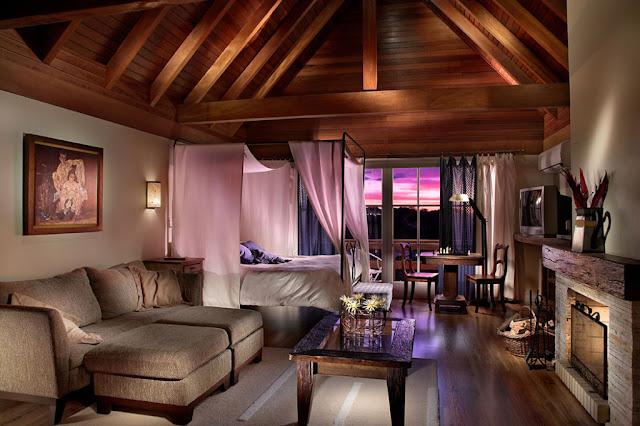 Suíte no hotel Varanda das Bromélias, em Gramado