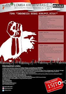 Lomba Kreativitas Anti Korupsi tingkat Nasional (Debat, poster,videografi) oleh STIE Perbanas Surabaya untuk SMA sederajat