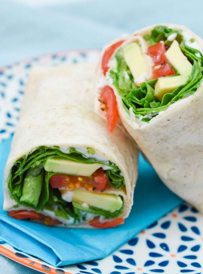 Close up of green power lunch wraps