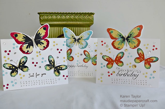 Stampin' Up! Watercolor Wings partial cut out cards