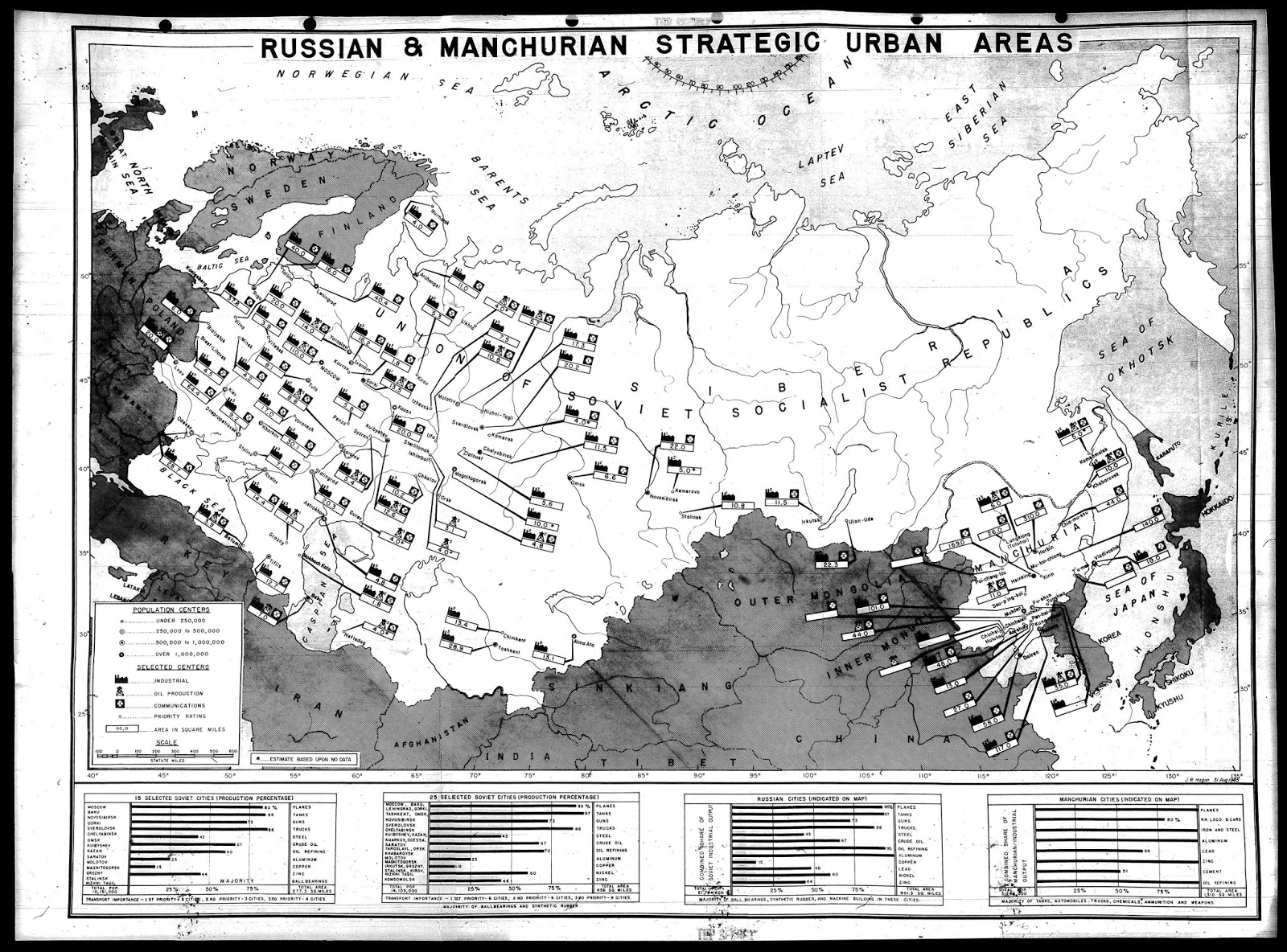Major targets for nuclear bombs in Soviet Union, part of planning a nuclear attack on the USSR (September, 1945)