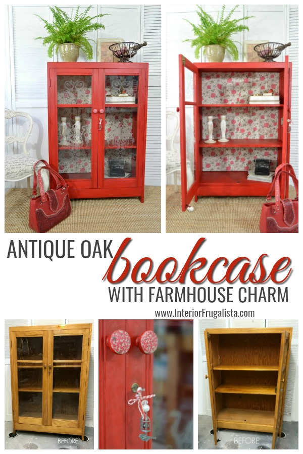 Antique Oak Bookcase With Farmhouse Charm