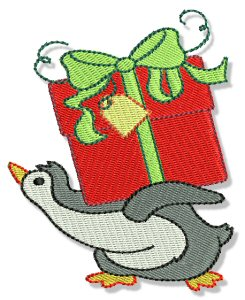 Embroidery Images of Penguins in Christmas.