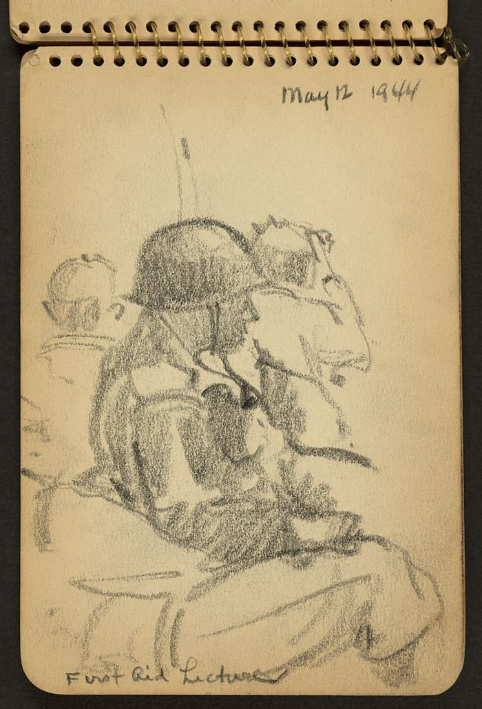 21-Year-Old WWII Soldier's Sketchbooks Show War Through The Eyes Of An Architect - First Aid Lecture. Soldiers Listening To Lecture While Stationed At Fort Jackson, South Carolina